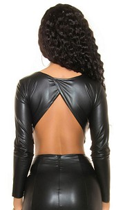 Sexy Wetlook Crop Shirt backfree Black