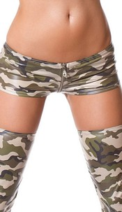 Gogo-Hotpants with zipper Army