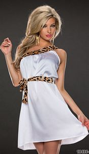 One-Shoulder-Minidress White / Brown