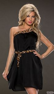 One-Shoulder-Minidress Black / Brown
