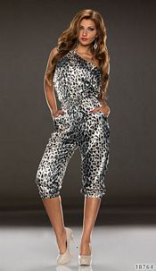 Printed-Jumpsuit White / Leopard