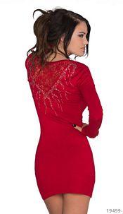 Long-sleeved-Minidress Red
