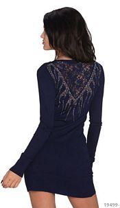 Long-sleeved-Minidress Darkblue