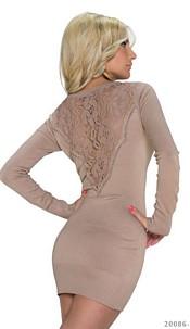 Long-Sleeved-Minidress Lightbrown