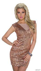Pailletten-Minidress Bronze