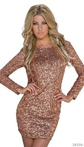 Sequins-Minidress Bronze