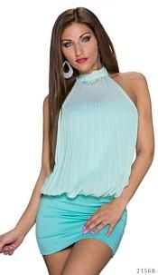Halter-Minidress Turquoise-green