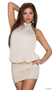 Halter-Minidress Cream