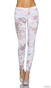 Print-Leggings Mixed / White