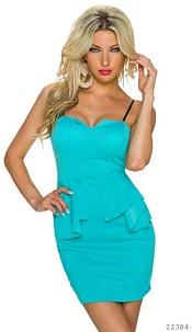 Spaghetti-Minidress Turquoise-green
