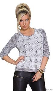 Long-Sleeved-Shirt White / Black