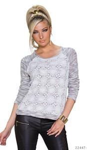 Long-Sleeved-Shirt White / Gray