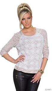 Long-Sleeved-Shirt White / Beige