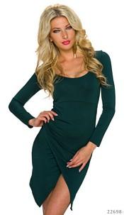 Long-Sleeved-Minidress Darkgreen