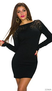 Knitted-Mini Dress Black