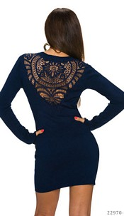 Knitted-Mini Dress Darkblue