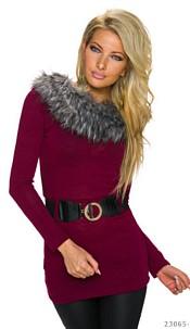 Long-Sleeved-Minidress Wine-red
