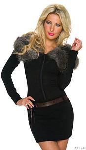 Long-Sleeved-Mini Dress Black