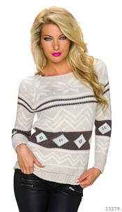 Knitted-Pullover Mixed / Cream