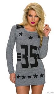 Long-Pullover Gray / Black
