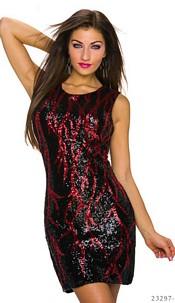 Pailletten-Minidress Black / Red