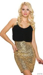 Pailletten-Minidress Black / Gold