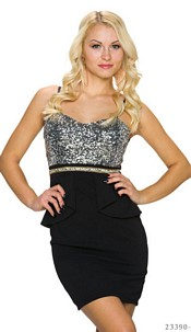 Pailletten-Minidress Silver / Black