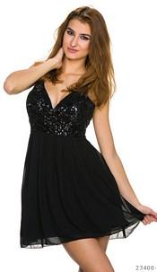 Volant-Minidress Black