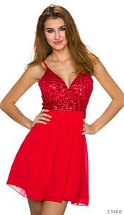 Volant-Minidress Red