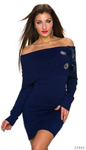 Long-Sleeved-Minidress Dark Blue