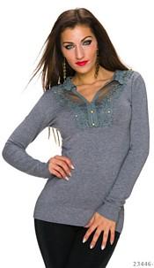Fijngebreide-Pullover Grijs