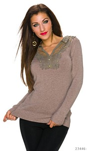 Fineknitted-Pullover Taupe