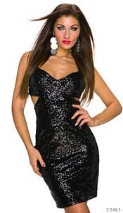 Pailletten-Minidress Black