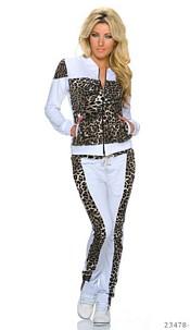 Jogging Suit White / Leopard