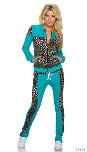 Jogging Suit Turquoise / Leopard