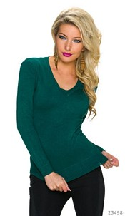 Fine-Knitted-Pullover Green