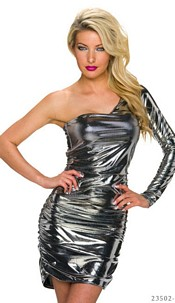 One-Shoulder-Minidress Silver