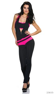 Jumpsuit Black / Neon-Pink