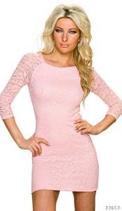 Lace-Mini-Dress Pink