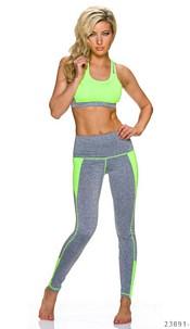Top + Joggingpants Gray / Neon-Yellow