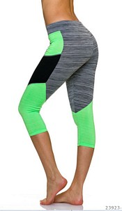 3/4-leggings Gray / Neon-Yellow