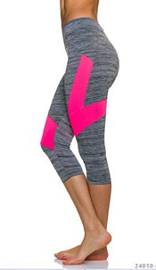 3/4-leggings Gray / Neon-Rosa
