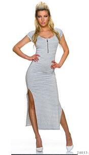 Maxi-Dress White / Gray