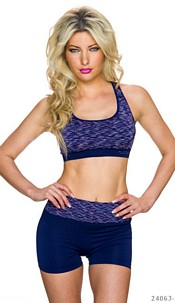 Top + hotpants Mixed / Donker-Blauw