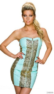 Strapless Mini-Dress Turquoise / Gold