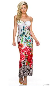 Strapless Maxi-Dress Mixed / Red