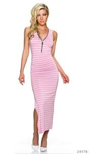 Maxi-Dress Pink / White