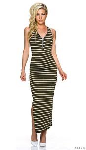 Maxi-Dress Olive / White