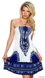 Halter-Mini-Dress White / Royalblue