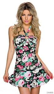 Halter-Mini-Dress Mixed / Black